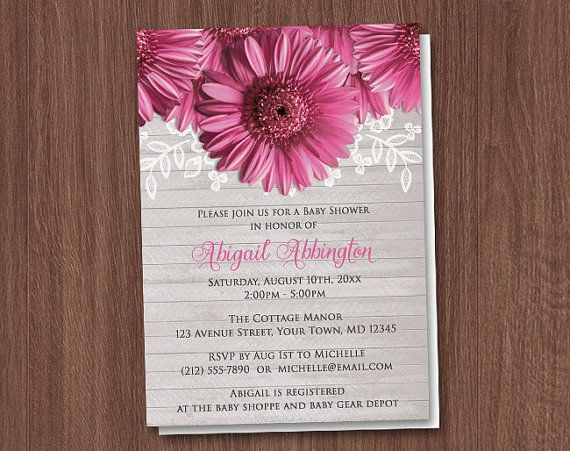 Rustic Pink Gerbera Daisy Baby Shower by ArtisticallyInvited, $22.00