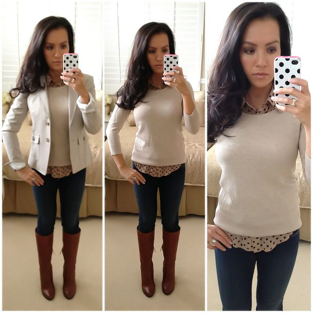 Cream sweater, with polka dot dress shirt left out and high brown boots.