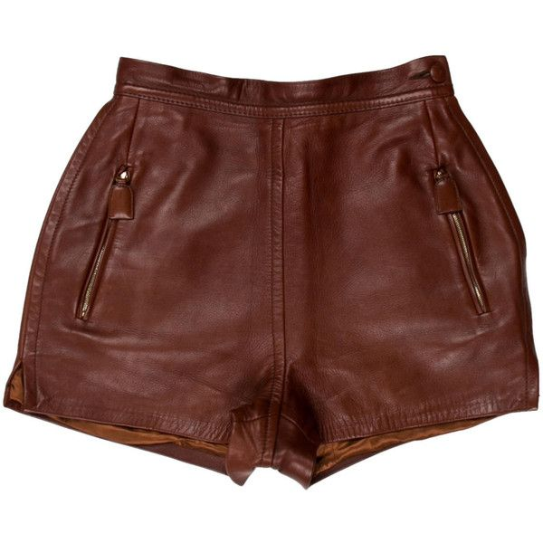 Pre-owned Prada Leather High-Wait Shorts ($245) ❤ liked on Polyvore featuring shorts, brown, brown high waisted shorts, prada, high-rise shorts, highwaist shorts and high-waisted shorts