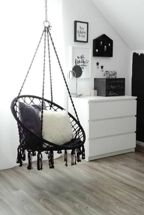 A hammock chair becomes a favorite place # black and white #sofa # wickerwork #hea