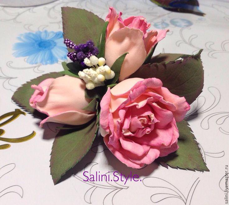 """Купить Брошь из фоамирана""""Три розочки"""" - кремовый, розы ручной работы, роза ручной работы"""
