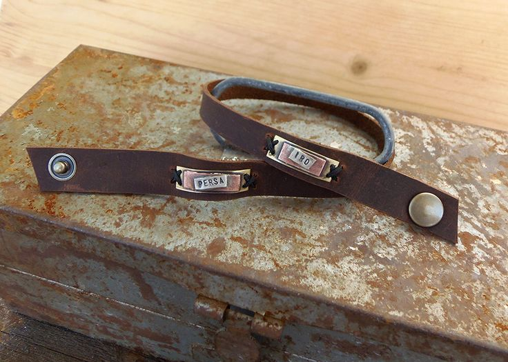 Leather bracelet ! Daughters ,sons or special one's Bracelet! A personal gift! Custom text bracelet by VakalisCreations on Etsy https://www.etsy.com/listing/236241354/leather-bracelet-daughters-sons-or