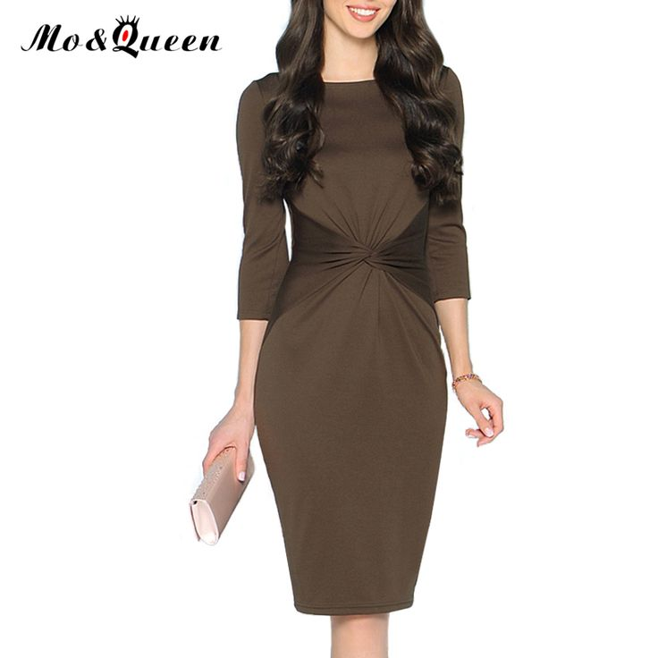 Casual Kink Dresses Women 2016 New Fashion Solid Women Autumn Dress Half Sleeve Pencil Sheath Bodycon Ladies Dresses Brown Blue