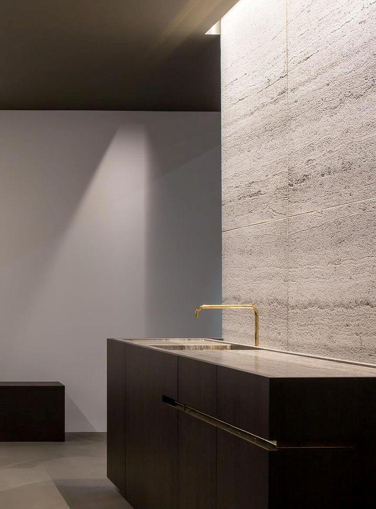 Kitchen by Wilfra at Interior 2014 Kortrijk Belgium - muzillac veine - travertin natural stone by Hullebusch