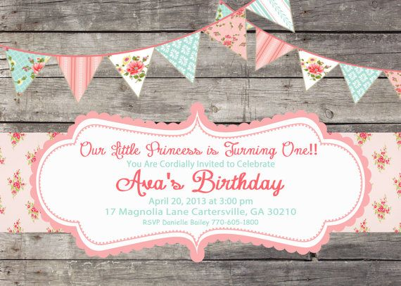 Shabby Chic Girls Birthday Party Bridal or Baby Shower Invitation Pink Blue Yellow Digital Vintage on Etsy, $15.00