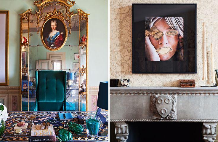 Письменный стол, за которым работает дизайнер, украшен флорентийской мозаикой. (На вечеринке в честь тридцатилетия хозяина у камина в гостиной собралось семьдесят человек.) Над каминной полкой висит портрет актрисы Бо Дерек
