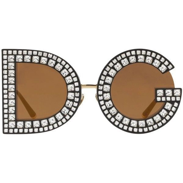Dolce & Gabbana Women Dg Crystals Embellished Sunglasses ($1,415) ❤ liked on Polyvore featuring accessories, eyewear, sunglasses, gold, oversized glasses, oversized eyewear, dolce gabbana eyewear, lens glasses and over sized sunglasses