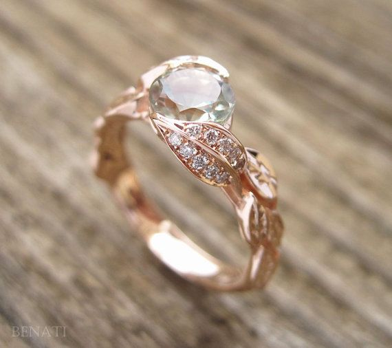 Green Amethyst Engagement Ring Leaf Engagement Ring Rose by Benati