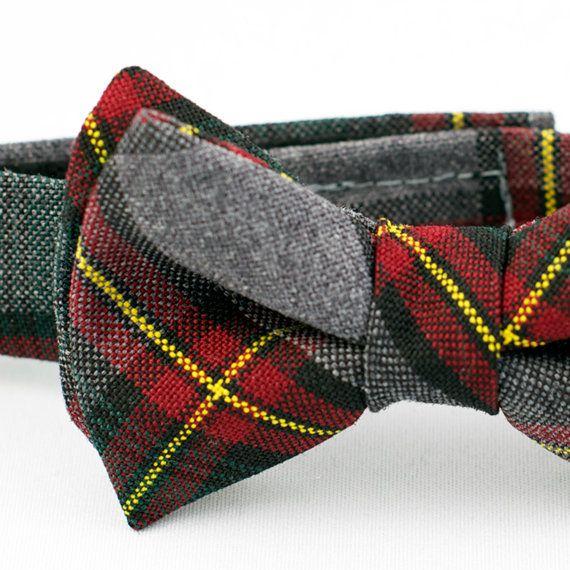 Grey Plaid Boys Bow Tie Adjustable by littlejohnneckwear on Etsy