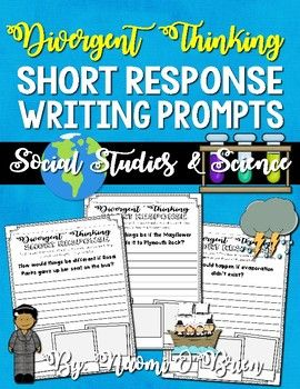 This resource includes a divergent approach to questioning students about topics they have learned about in class in the areas of social studies and science. They could also be used to assess prior knowledge and hook students on a topic before the lesson occurs.Instead of simply asking students to define evaporation, you can ask them a question that requires divergent thinking, but also allows you to assess if they know what evaporation is.