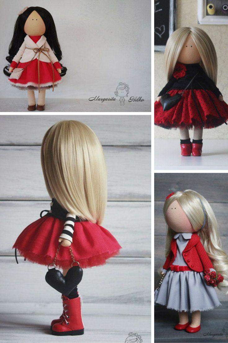 Soft doll red black blonde Handmade doll by AnnKirillartPlace