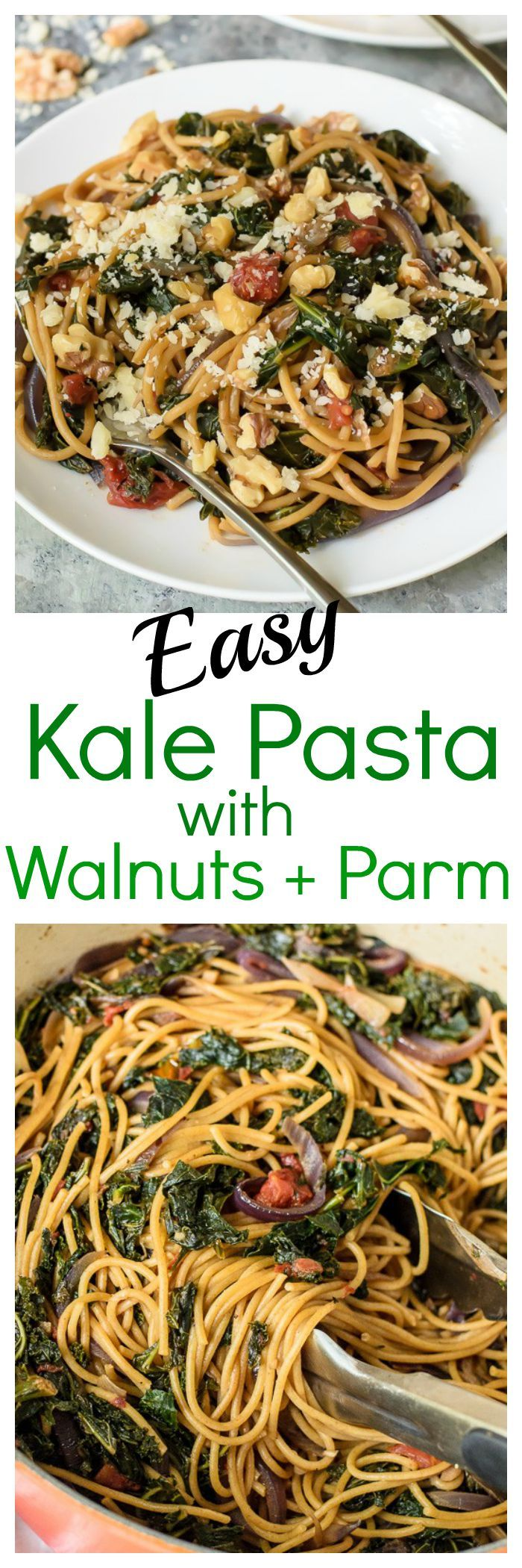 Kale Pasta with Walnuts and Parmesan. Healthy, beautiful, and ready in less than 30 minutes! #wholewheatpasta #kale #healthy