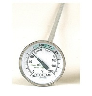 "Compost thermometer -Ergonomic measurement of your compost pile or soil.    Industrial quality, bimetal type with a 20"" probe suitable for compost piles or windrows. Temperature zones are clearly marked on the face. Stainless steel construction.  johnnyseeds.com"