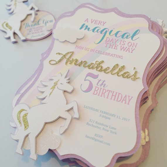 Hey, I found this really awesome Etsy listing at https://www.etsy.com/listing/492862162/unicorn-birthday-invitation-handmade