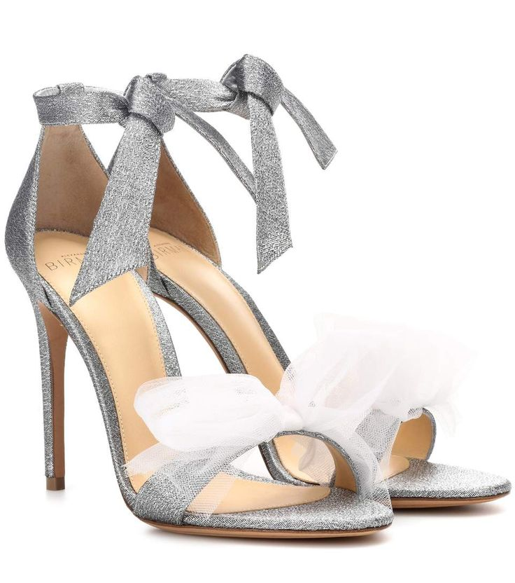 Com - Clarita Lamé And Tulle Sandals, Silver