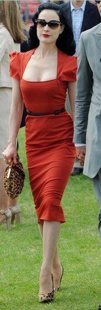 Dita Von Teese- Dress - Roland Mouret Purse and shoes - Christian Louboutin Sunglasses - Versace Christian Louboutin Filo Leopard-Print Hair-Calf Pump similar style bag by the same designer