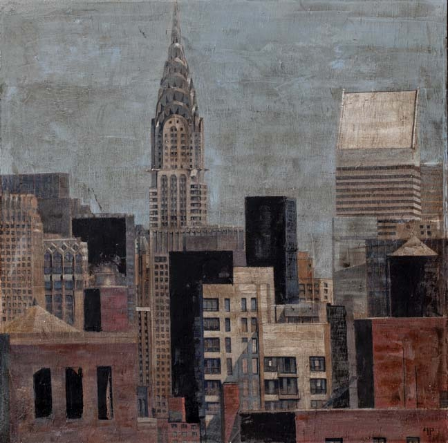 "Patrick Pietropoli, New York Lointain, 2013, Oil on Linen, 39"" x 39"" #art #newyork #axelle"