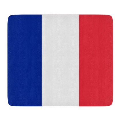 Small glass cutting board with flag of France - kitchen gifts diy ideas decor special unique individual customized