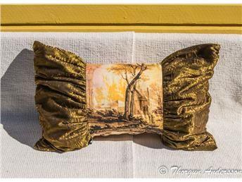 Kudde kuddfodral, atelje-sydd, höst-färger 75 x 50 cm, bomull o crinkled taft