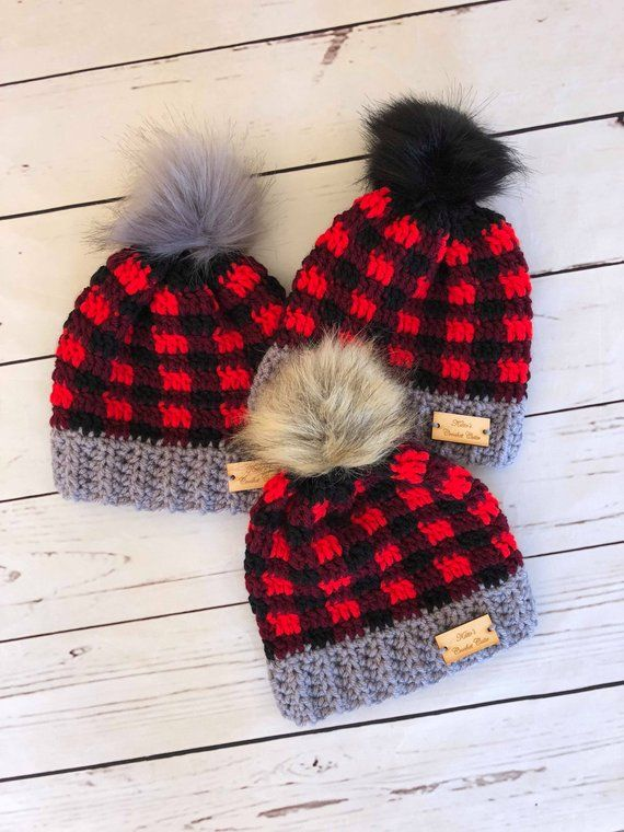 Newborn Plaid Hat Crochet Plaid Buffalo Plaid Hat Plaid  afee24164c95