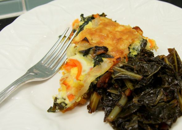 Kale, Carrot, Cheddar & Sweet Potato Frittata from the blog at ...