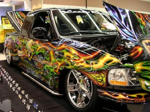 Harley Davidson Custom >> Custom Airbrushed Trucks | Custom Airbrush 2000 Ford F150 Harley Davidson Extended Cab with ...