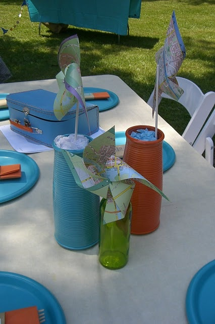 A Traveler's Party using our mapbook pinwheels ~ post by In Flight.