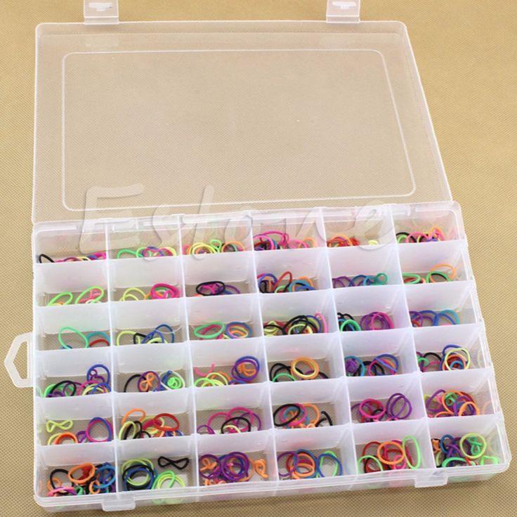 Venta caliente de La Nueva Práctica De Plástico Ajustable 36 Compartimiento De Almacenamiento caja de la Caja Del Grano Anillos Exhibición de La Joyería Organizador