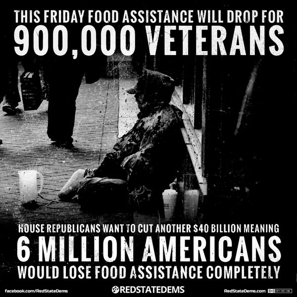 900,000 US veterans will see cuts to their food assistance Friday. THAT'S how the GOP supports troops #GOPHungerGames