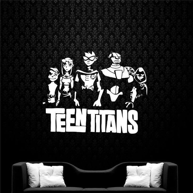 Teen Titans Wall Decal Animated Series Vinyl Wall Sticker Cartoon Superheroes Interior Home Childrens Room Door Sticker M685 #Affiliate