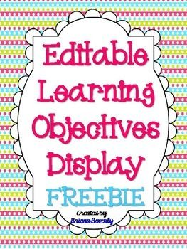 An easy way to display the learning objectives in your classroom for each day! Just cut, laminate & use magnets or tape to adhere to your white board. Then, just use a dry erase marker to change your objectives every day. Enjoy this freebie...please leave feedback if you use it! :)