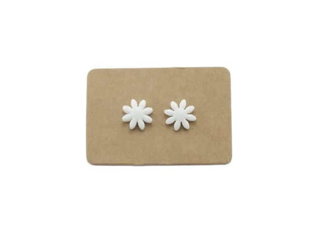 Handmade Ceramic White Daisy Flower Stud Earrings from Lululoft $15