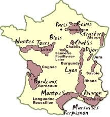 "Map of France. Note the town of ""Tours"" in the upper left quadrant."