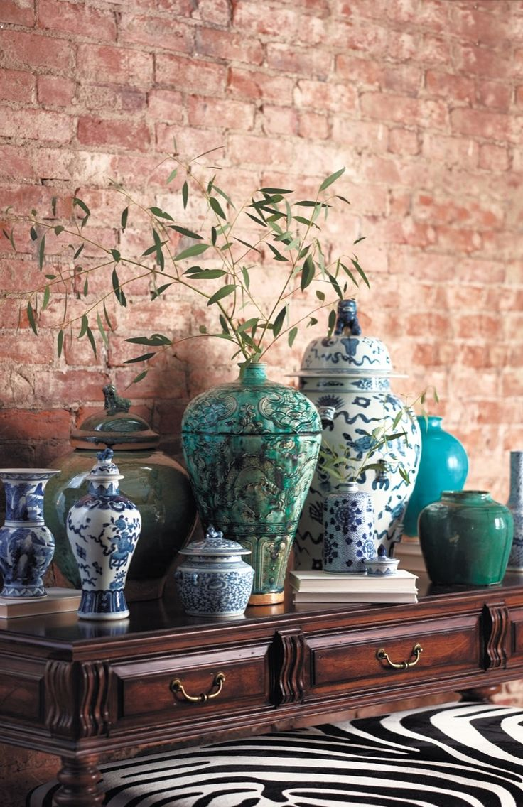 Mantel Trend Cluster Charismatic Ming-inspired Vases And Temple Jars