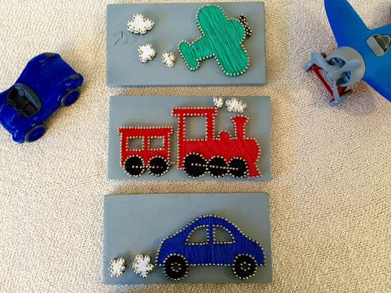 Plane Train and Automobie String Art by Stringything on Etsy