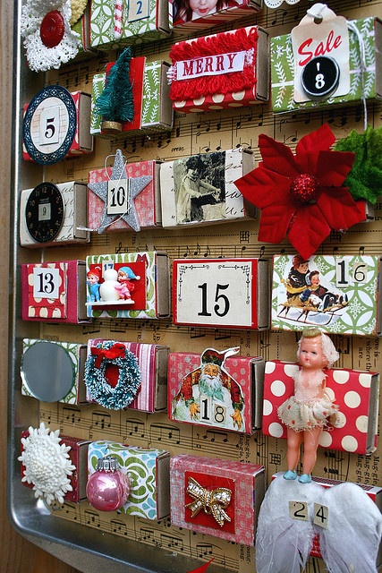 Diy Matchbox Advent Calendar : Advent calendar made from a cookie pan match boxes
