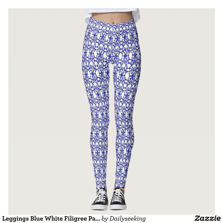 Leggings Blue White Filigree Pattern : Beautiful #Yoga Pants - #Exercise Leggings and #Running Tights - Health and Training Inspiration - Clothing for #Fitspiration and #Fitspo - Strong Female and Female Empowerment Apparel - #Fitness and Gym Inspo - #Motivational Colorful Workout Clothes by Talented Graphic Designers