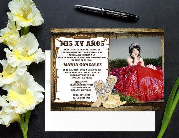 Cowboy theme Quinceañera invite with photo, Cowboy theme Sweet 16 invite…