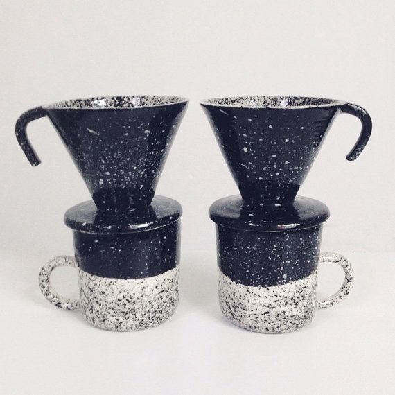 Speckled Coffee Pourover Black and White Single Cup Coffee Maker Made to Order