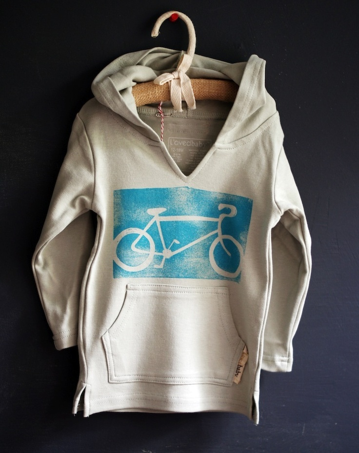 elSagedesigns,com   Image of Roadbike hand printed toddler beach hoodie
