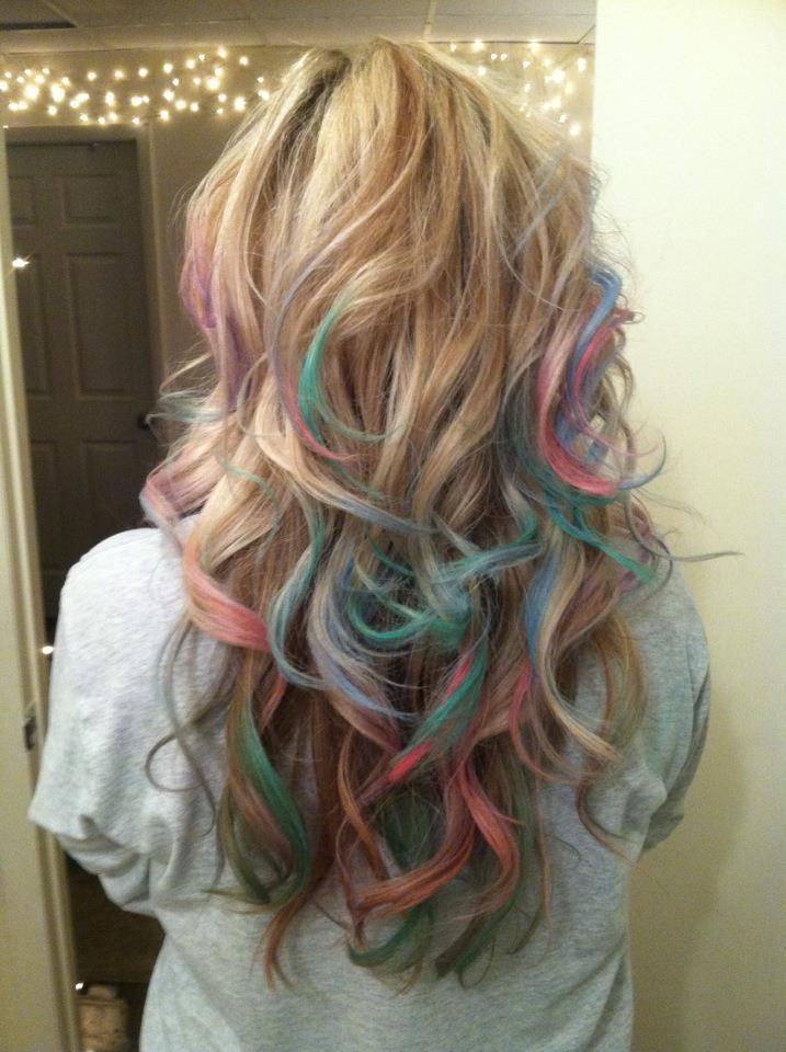 DIY Chalked hair: soak prefered colors of chalk in a bowl of warm/hot water for 10 minutes. With dry hair, color the ends with the wet chalk.