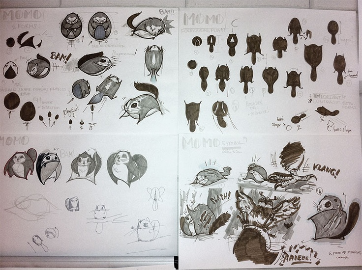 The creative process behind 'Momo's' character design - Sketches 6 #Characterdesign #MomongaPinballAdventures #GameDesign #Sketch