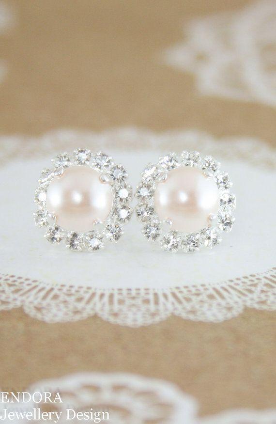 Creamrose pearl earrings | pearl earrings | pearl stud earrings | Swarovski…