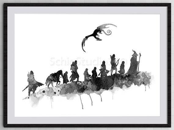 Die Gefährten die Ring Herr der Ringe-Aquarell von SchioStudio360