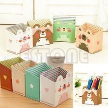 Gratis verzending u119 leuke kat cartoon papier briefpapier bureau make-up cosmetische organisator opslag box diy(China (Mainland))