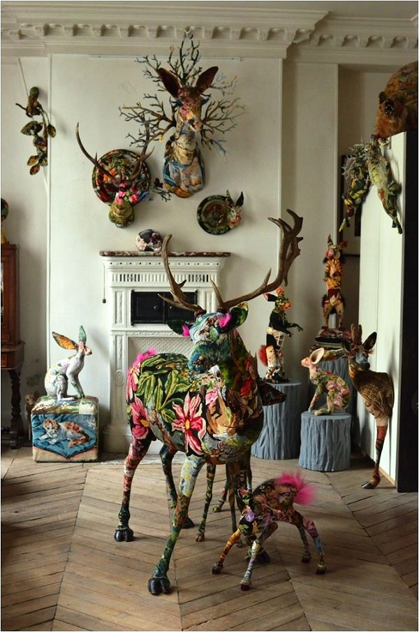 Frédérique Morrel Tapestry Taxidermy - a look at the artists home and studio, Image Source Tracy Lee Lynch  Le cerf ferait bien chez moi.