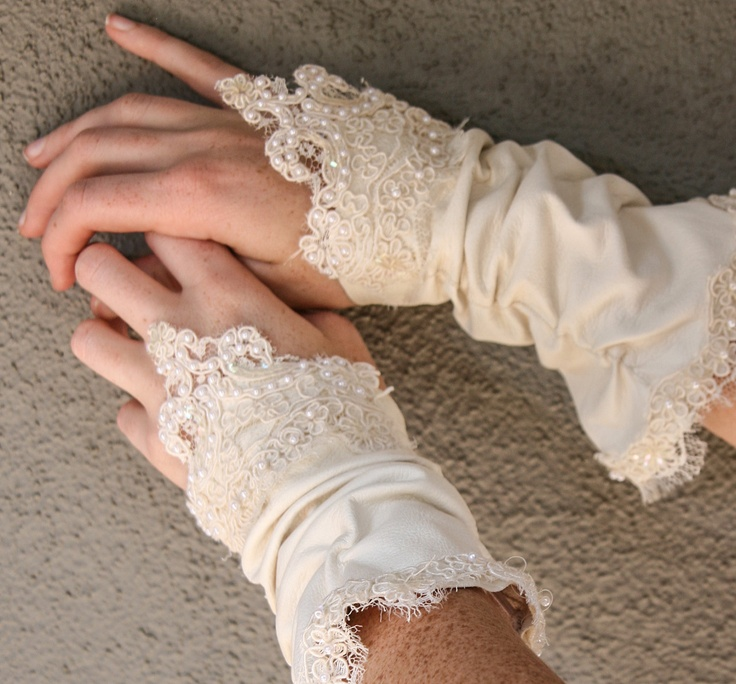 Up-cycled vintage kid gloves, wedding accessory gloves. $55.00, via Etsy.