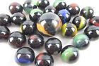 25 Glass Marbles BLACK PANTHER red blue green game pack vtg style Shooter Patch
