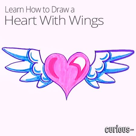 how to draw a heart with wings