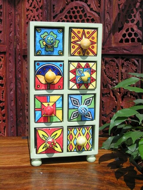 Indian wood and ceramic 8 drawer spice chest